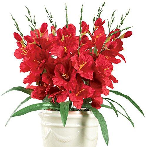Gladiola Flower Artificial Bush Picks - Set Of 3, Red
