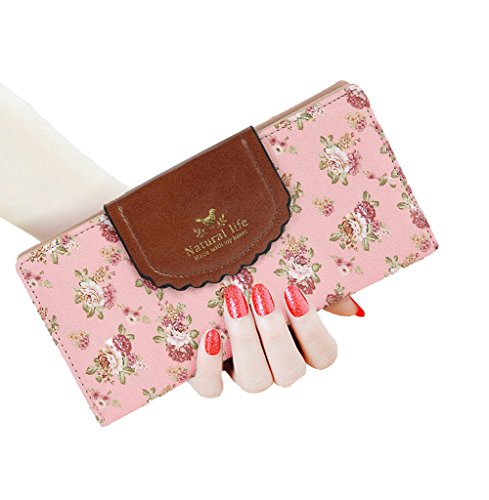 SeptCity Womens Wallet Cute Floral Soft Leather Clutch Gift for Her, 2071-Pink - Pink Floral Wallet