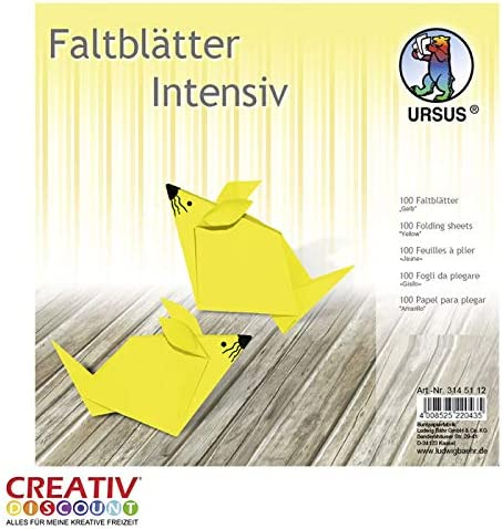 CREATIV DISCOUNT® NEU Faltblätter intensiv 100 Blatt, 15x15cm, gelb