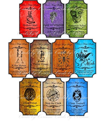 Halloween 10 steampunk apothecary colorful laminated bottle -