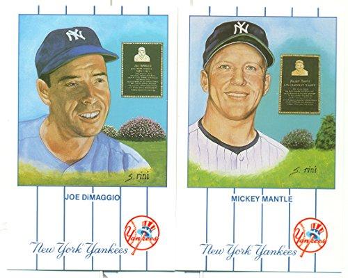 - 1990 Vintage Set of 12 New York Yankees Monument Park Postcards - Mantle DiMaggio +