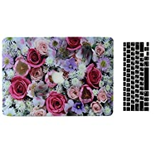 MacBook Pro 13'' Regular Display Case and Keyboard Cover, AICOO 2-in-1 Beautiful Hard Case Cover Shell For Macbook Pro 13.3 inch With CD-ROM (A1278), A Bunch Rose