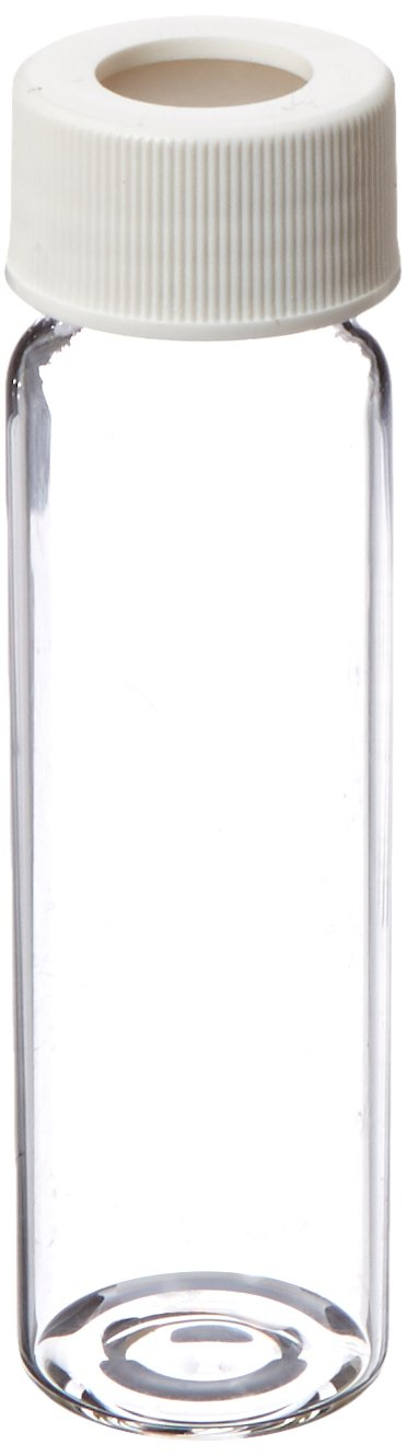 JG Finneran 9-103 Clear Borosilicate Glass Standard VOA Vial with White Polypropylene Open Top Closure and 0.125'' PTFE/Silicone Septa, 24-414mm Cap Size, 40mL Capacity (Pack of 100)