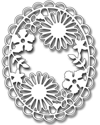 (Davitu Floral Scallop Oval Frame New for 2019 Valentine's Day Metal Cutting Dies Scrapbooking Craft Die cuts Card Making DIY 12698mm)
