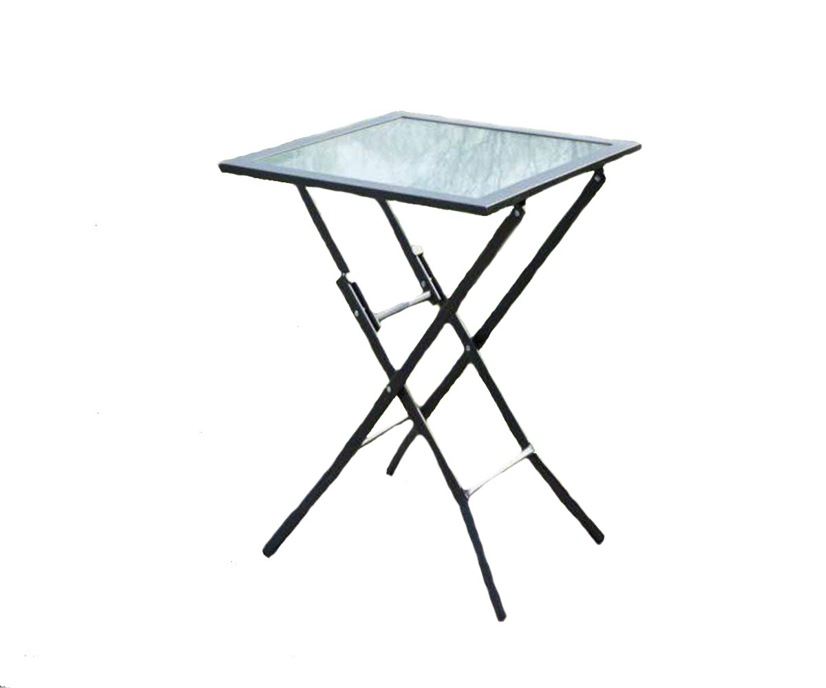 Square Side Table With Folding Legs Indoor Outdoor - Compact, Weather Resistant - Medium by MS HOME