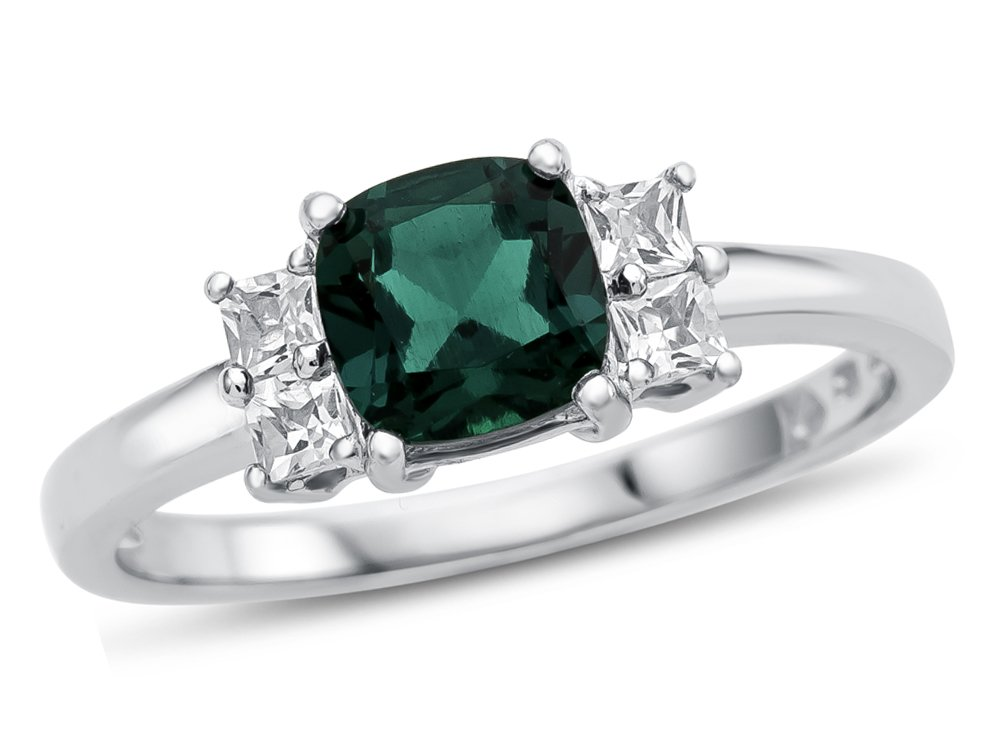 6x6mm Cushion Created Emerald and White Topaz Ring 10 kt White Gold Size 7