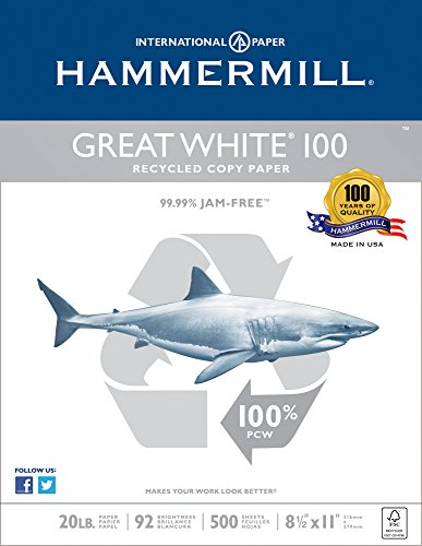hammermill great white copy paper Hammermill great white 50 is a versatile, recycled office paper that works as hard as you do the precise, accurate sheeting, consistent moisture content and curl control ensure smooth, trouble-free performance 20 lb paper is extremely smooth to virtually eliminate paper jams.