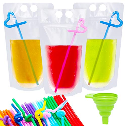 (Ouddy 50 Pcs Drink Reusable Juice Pouches Smoothie Stand Up Disposable Plastic Zipper Drink Bags with 50 Straws & Silicone Funnel)