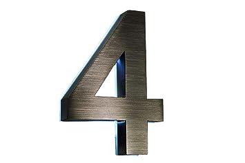 número de casa 4 Acero inoxidable en 3d iluminado aprox. 18 ...