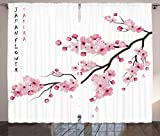 Light Pink Curtains Asian Decor by Ambesonne, Japanese Cherry Blossom Branches with Blooming Flowers Spring Decorative Boho Art, Living Room Bedroom Decor, 2 Panel Set, 108 W X 84 L Inches, Pink White
