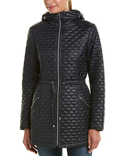 Quilted Coat Laundry (Laundry by Shelli Segal Womens Quilted Coat, L, Blue)