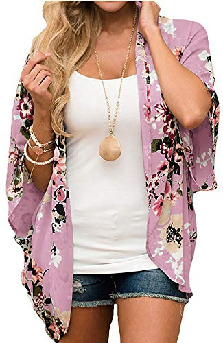 Relipop Women's Sheer Chiffon Blouse Loose Tops Kimono Floral Print Cardigan (Large, Type 52)
