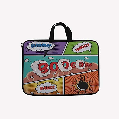 - 3D Printed Double Zipper Laptop Bag,Speech Bubbles Funny Pop Art Stylized Vintage,17 inch Canvas Waterproof Laptop Shoulder Bag Compatible with 17