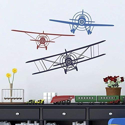 Wall Decal Decor 3 Airplanes Wall Decal - Wall Decals Nursery Boy Biplane Monoplane Wall Decal Boys Kids Room Playroom Decor (navy blue+dark red+medium blue, Medium Set)