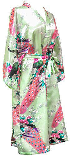 CC Collections Kimono 16 Colours Premium Version Free 1st Class UK Shipping Dressing Gown Robe Lingerie Night wear Dress Bridesmaid Hen Night (Green Baby) ()