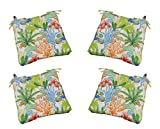 Set of 4 - Indoor / Outdoor Orange Green Blue Topical Fish Universal Tufted Seat Cushions w/ Ties for Dining Patio Chairs - Choose Size (21'' x 21'')
