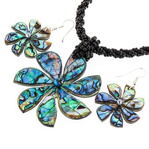 2 1/8'' Mosaic PAUA Abalone Black Beaded Necklace & Earring Set YE-2073