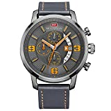 BOFUTE Men's Sports Military Multifunction Chronograph Watch with Calendar Display Leather Band(Blue Gray)
