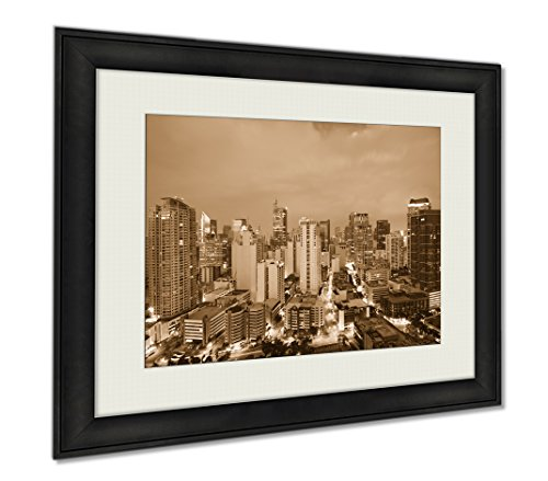 Ashley Framed Prints Makati Metro Manila Philippines, Wall Art Home Decoration, Sepia, 34x40 (frame size), AG5974435 by Ashley Framed Prints