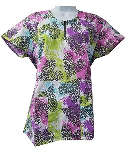 Zikit NY Women's Printed Nursing Medical Scrub Top Plus Sizes 1 X 2X 3 X 4X (XL, Mix) 2 X Scrubs