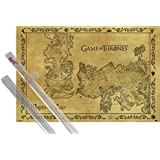 Poster + Hanger: Game Of Thrones Poster (36x24 inches) Antique Map Of Westeros And Essos, Vintage Style and 1 set of 1art1® Poster Hangers