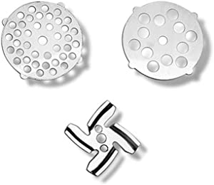 3 Pieces Meat Grinder Blades Food Grinding Blade Stainless Steel Knife Cutter Plate Discs Replacement for LHS Manual Meat Grinder