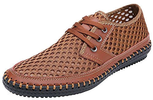 Forucreate Summer Men's Mesh Breathable Slip On Loafers Outdoor Lightweight Casual Shoes Stitching Honeycomb Hiking Shoes Durable Soft Leather(Brown 41) ()