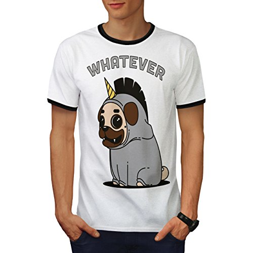 (wellcoda Whatever Dog Unicorn Men 2XL Ringer T-Shirt)