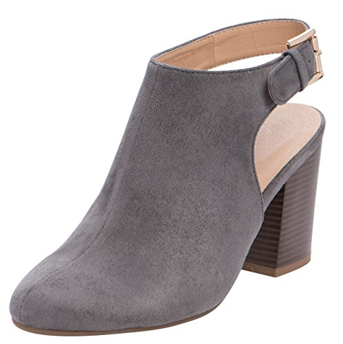 304db250a64 Cambridge Select Women s Buckled Slingback Strap Closed Almond Toe Chunky  Stacked Block Heel Ankle Bootie