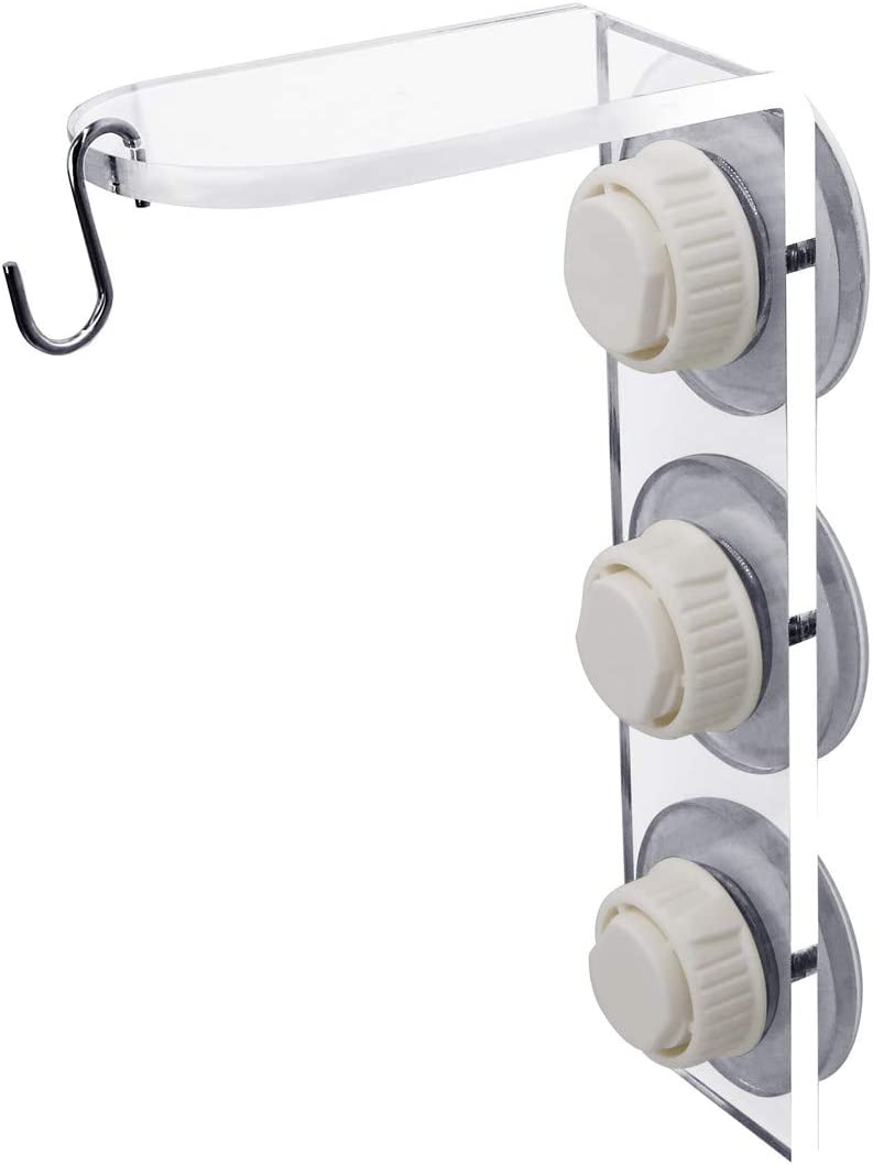 Window Suction Cup Hanger, Bird Feeder Hanger, Weather Proof, Sturdy, Indoor Plant and Wind Chimes Holder, Outdoor Window Hanger for Wild Birds, See Songbirds from Home -White (1, White)