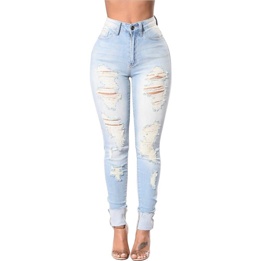 Gemgeny Women Skinny Denim Sexy Hole Jeans Tron Boyfriend Stylish Pencil Jeans (XXL, Blue)