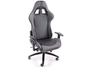 Fauteuil design moderne chaise de bureau simili cuir gris et