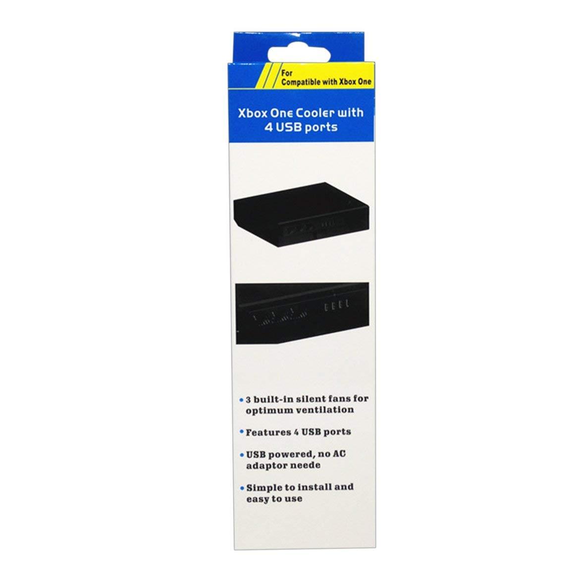 Negro Silenciador de enfriamiento Externo 3 Ventiladores m/ás fr/íos con 4 Puertos de hub USB Hub de Carga para Microsoft para la Consola Xbox One