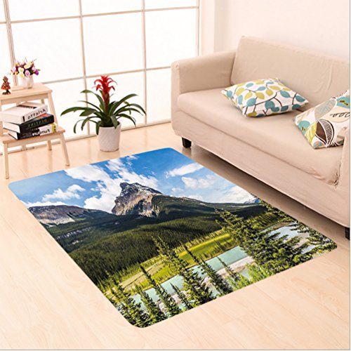 Nalahome Custom carpet Landscape Decor Canadian Cliffs High Tops and Ranges in Spring Day Panorama Image es Green Blue area rugs for Living Dining Room Bedroom Hallway Office Carpet (5' X 7')