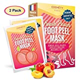Soft Foot Exfoliating Peeling Scrub Mask -Baby Foot Peel -Removes Calluses,Dead and Dry Skin - Repairs Rough Heels in 7 Days - Peel Mask for Men and Women(Peach) - Baby Foot Baby Feet Foot Peel 2 Pack