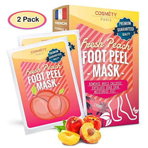 Soft Foot Exfoliating Peeling Scrub Mask -Baby Foot Peel -Removes Calluses,Dead and Dry Skin - Repairs Rough Heels in 7 Days - Peel Mask for Men and Women(Peach) - Baby Foot Baby Feet Foot Peel 2 Pack ()