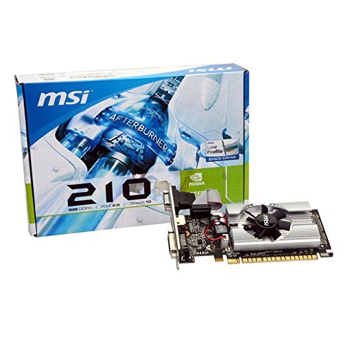 MSI N210-MD1G/D3 GeForce 210 Graphic Card - 589 MHz Core - 1 GB GDDR3 SDRAM - PCI Express 2.0 x16 - Half-height - 1000 MHz Memory Clock - 2560 x 1600 - DirectX 10.1, - HDMI - DVI - VGA LOW PROFILE -