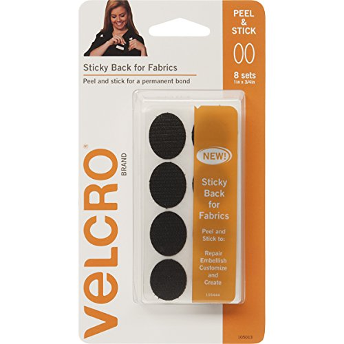 VELCRO Brand for Fabrics   Permanent Sticky Back Fabric Tape for Alterations and Hemming   Peel and Stick - No Sewing, Gluing, or Ironing   Pre-Cut Ovals, 1 x 3/4 inch, Black - 8 Sets]()