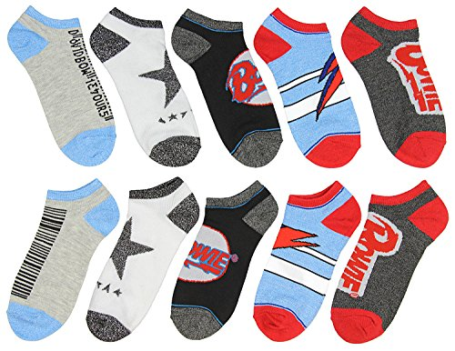 David Bowie Unisex Album Inspired 5 Pair Mix and Match Ankle Socks ()