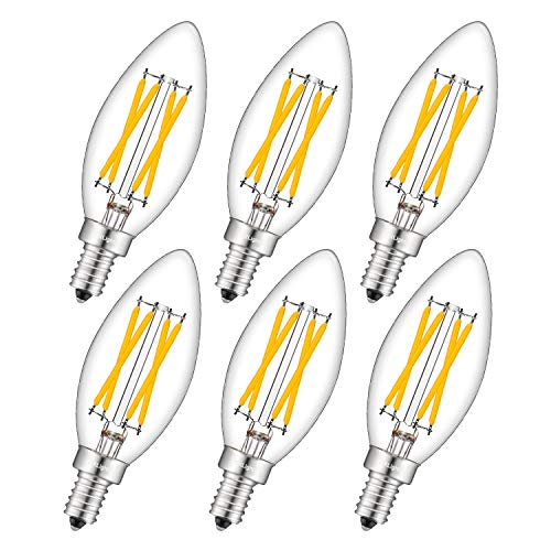 White Torpedo Tip - CRLight LED Candelabra Bulb 4W 2700K Warm White 500LM, 40W Equivalent E12 Base Dimmable LED Candle Bulbs, C35 Clear Glass Torpedo Shape Bullet Top, 360 Degrees Beam Angle, Pack of 6
