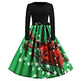 WOCACHI Final Clear Out Christmas Dresses Womens Vintage Xmas Santa Sash Party Prom Swing Dress Black Friday Cyber Monday Long Sleeve Reindeer Maxi Mini Knee Length Bowknot (Green, Large)
