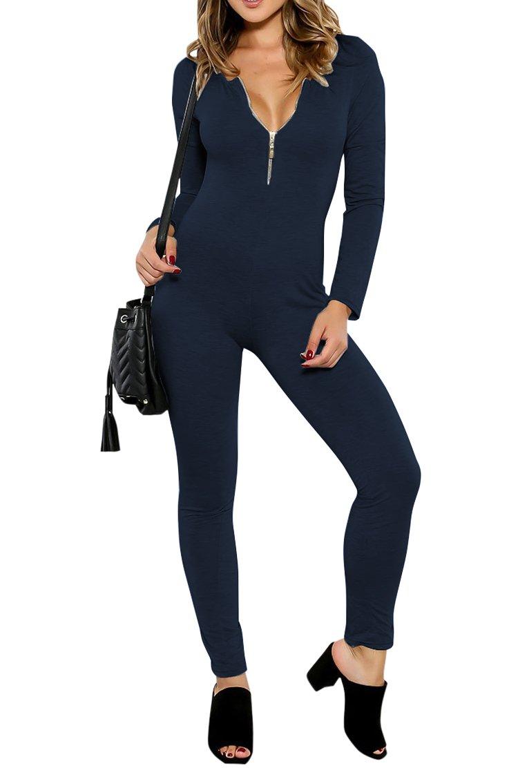 Fixmatti Lady Fall Long Sleeve Zipper V Neck Long Pant Bodysuit Jumpsuit Blue XL