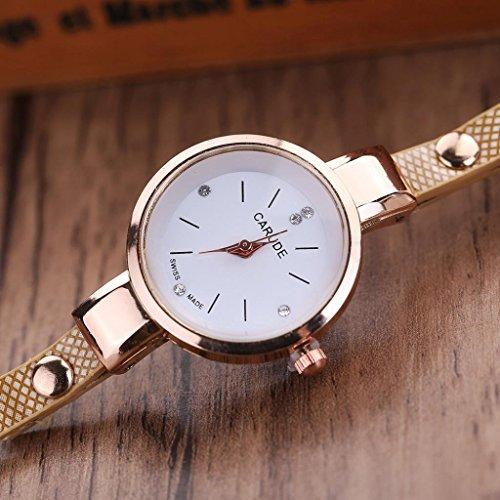 Inkach Women Watches Faux Leather Rhinestone Analog Quartz Wrist Watches