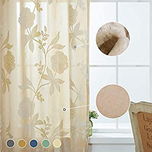 Cherhoo Velvet Floral Curtains Vibrant Embroidered Flocked Curtains for Bedroom Floral Design Damask Bright Grommet Curtains and Drapes for Living Room(2 Panels, 52W×84 Inch Length, Beige)