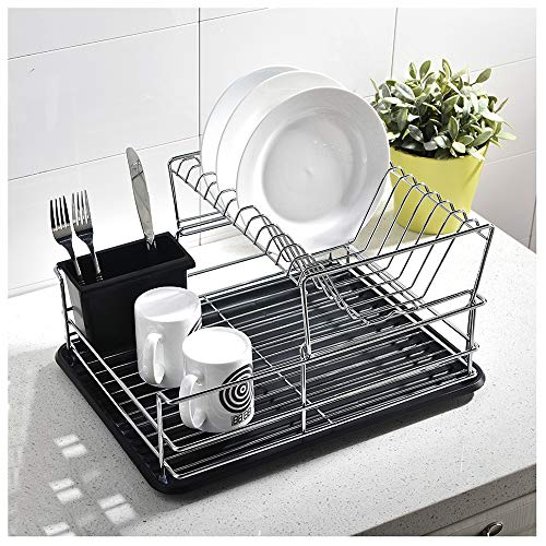 GLANZHAUS 2-Tiered Stylish Designed Small Deep Stainless Ste