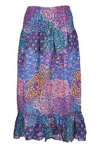 Taille Elastique Teint Femme Fleur Guru Couleur PANTI Bleu Femme du de vase Fille t Jupe ie Ethnique 8wzqH4