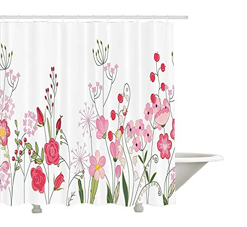 SZZWY Endless Horizontal Texture of Contoured Wild Flowers Berries and Herbs Shower Curtain 3D Printing Waterproof Coated Polyester Fabric Bathroom with 12 Hooks 71 inches ()