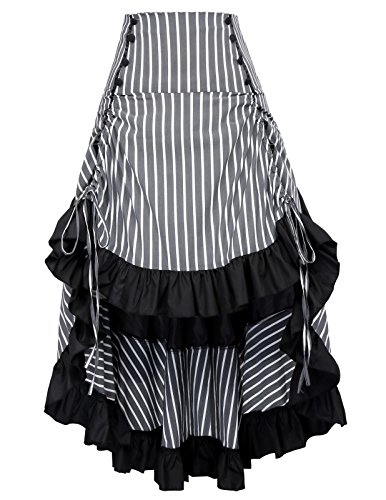 Striped Steampunk Victorian Skirt Bustle Style Renaissance Costume BP345-3 S]()