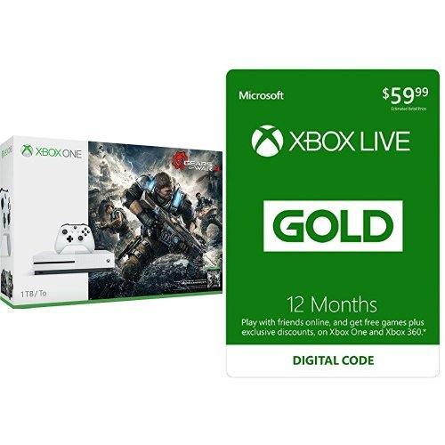 Xbox One S 1TB Console – Gears of War 4 Edition + Xbox Live 12 Month Gold Membership Bundle