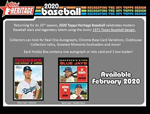 2020 Topps Heritage Baseball Hobby Box (24 Packs/9 Cards: 1 Auto or Mem) from Heritage